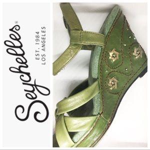 Seychelles Green Wedge Sandals